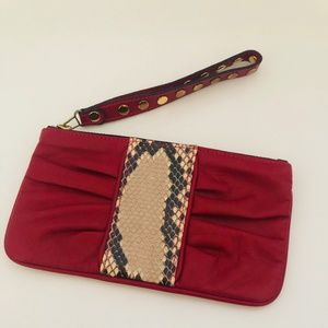 Be & D Red Leather and Snakeskin Wristlet